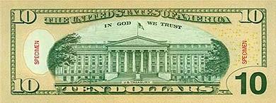 billete 10 dolares reverso
