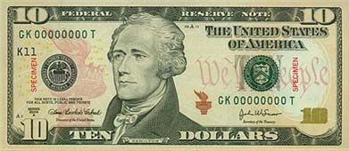 billete 10 dolares