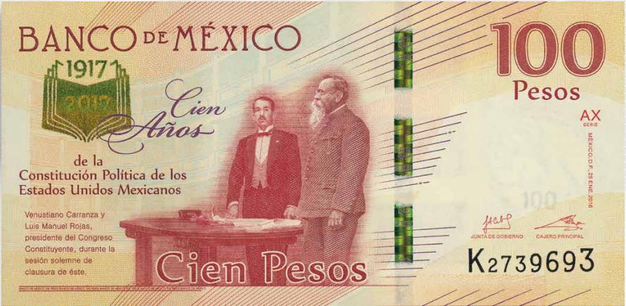 billete 100 pesos conmemorativo constitucion