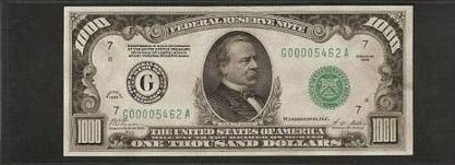 Billete 1000 Dolares