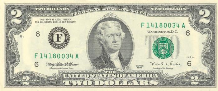 billete 2 dolares