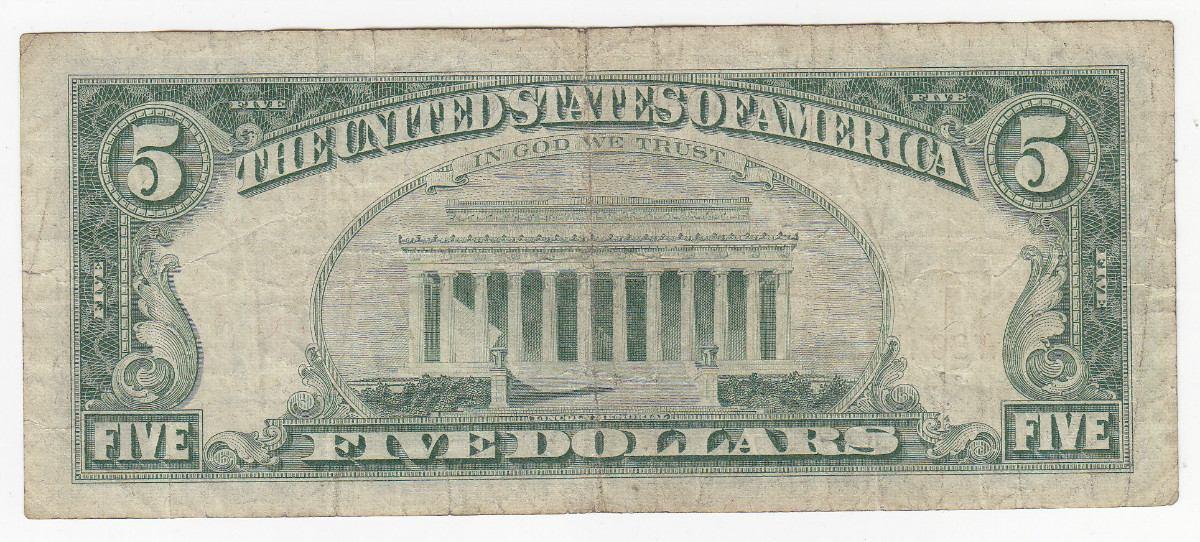 billete 5 dolares reverso