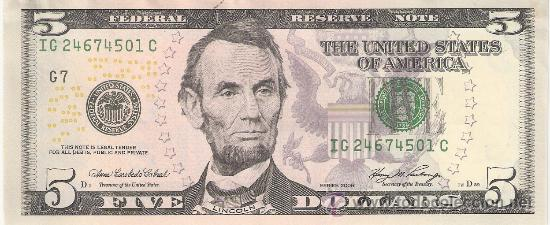 billete 5 dolares