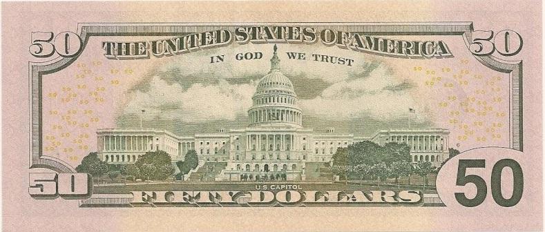 billete 50 dolares reverso