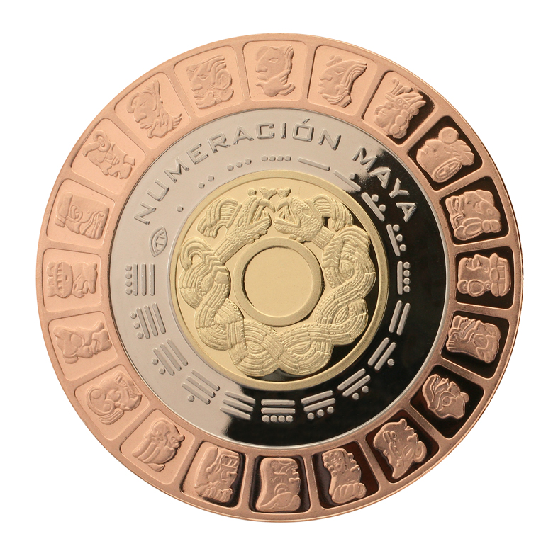 trimetalica 20 pesos numeracion maya